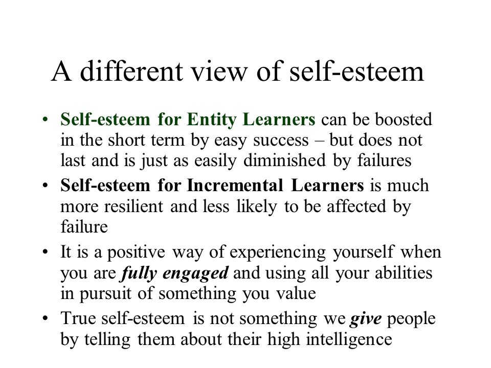 A different view of self-esteem