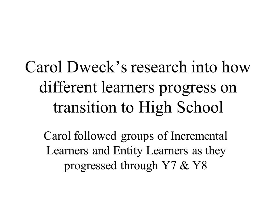 Carol Dweck's research into how different learners progress on transition to High School