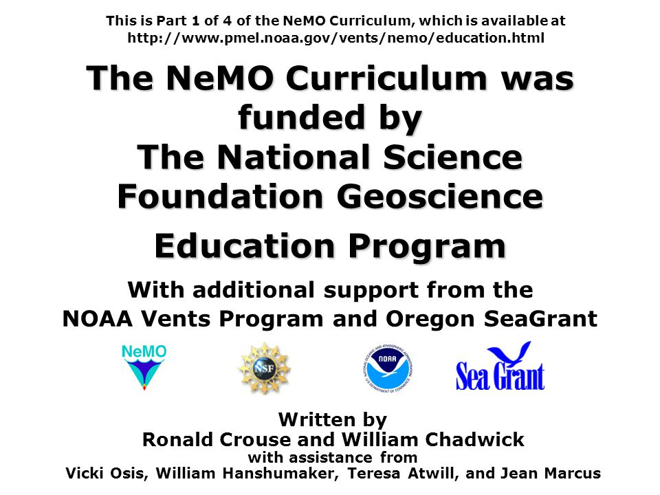 This is Part 1 of 4 of the NeMO Curriculum, which is available at