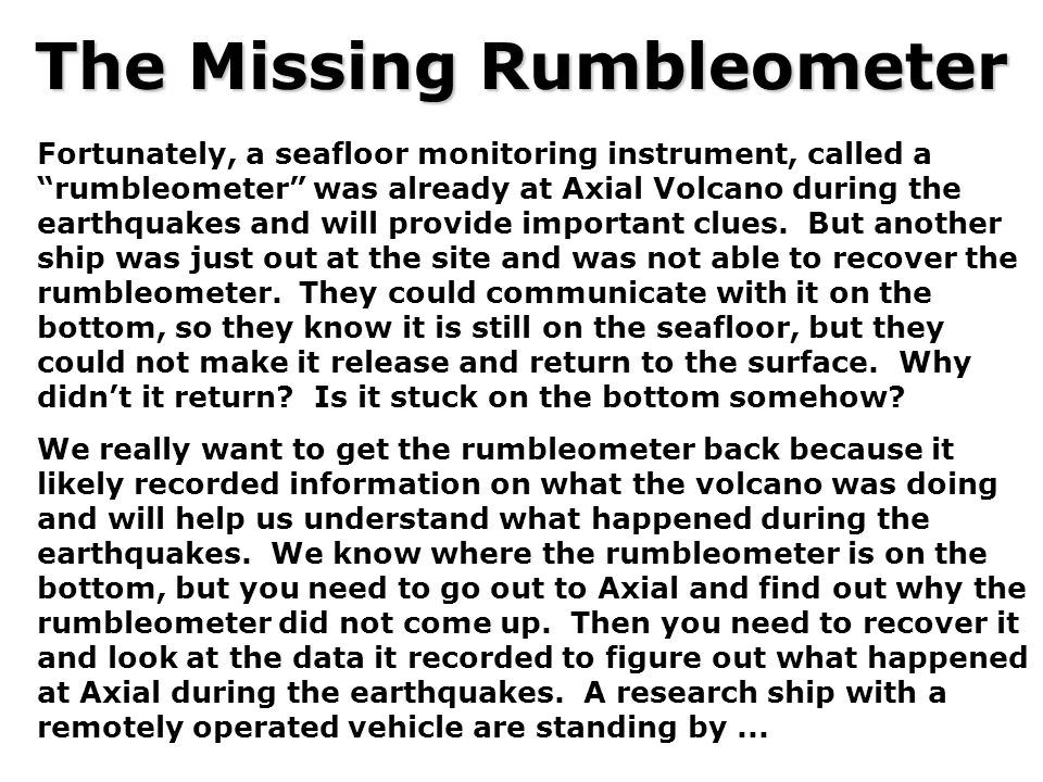 The Missing Rumbleometer