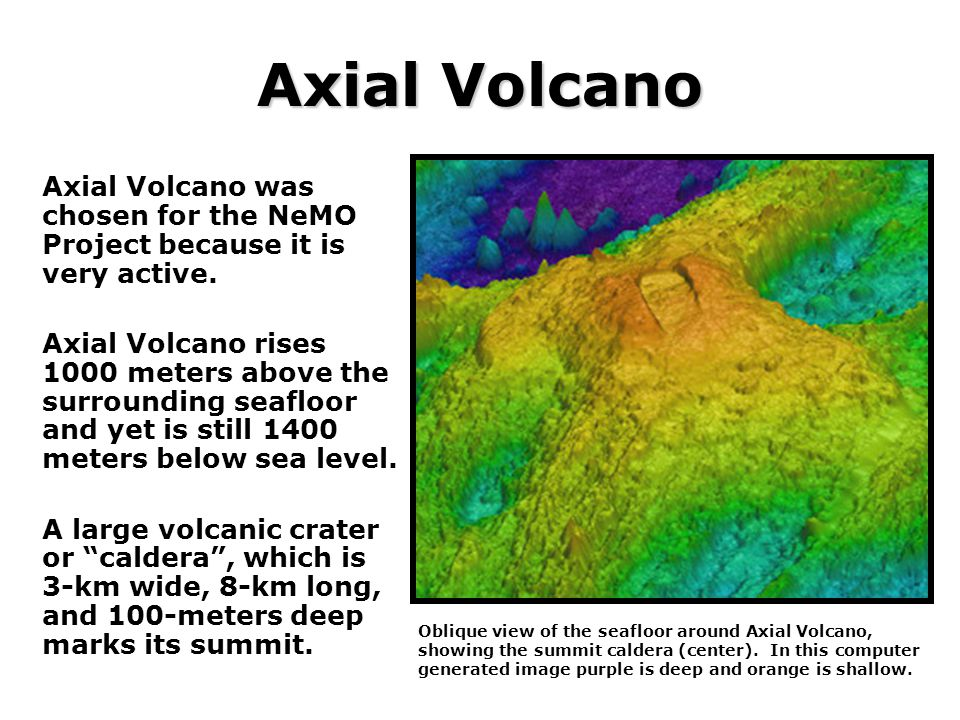 Axial Volcano Axial Volcano was chosen for the NeMO Project because it is very active.