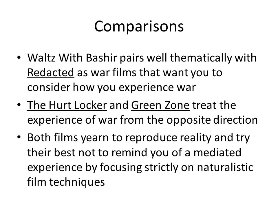Comparisons Waltz With Bashir pairs well thematically with Redacted as war films that want you to consider how you experience war.