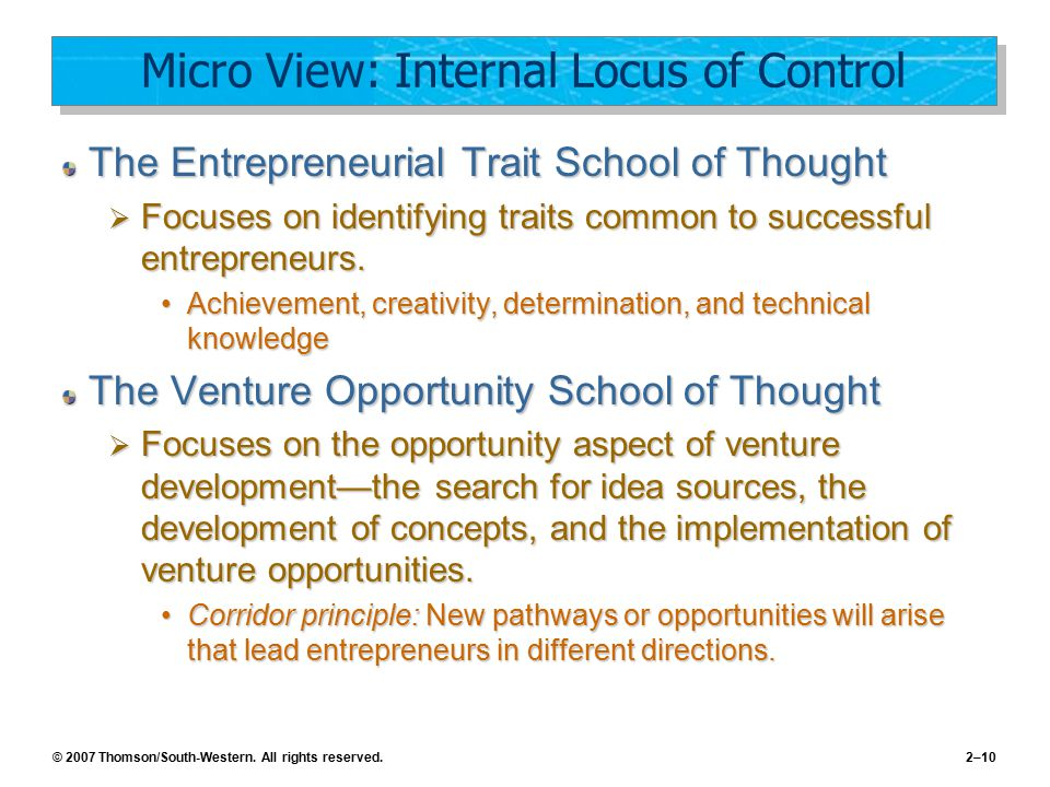 Micro View: Internal Locus of Control