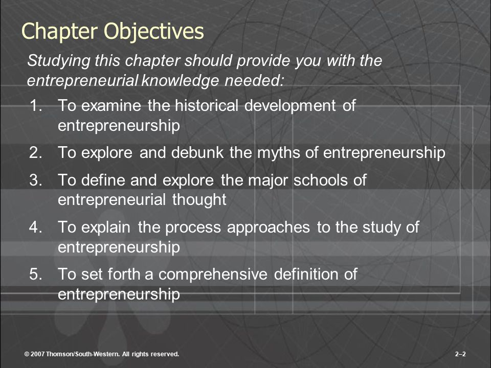 Chapter Objectives Studying this chapter should provide you with the entrepreneurial knowledge needed: