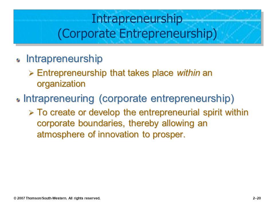 Intrapreneurship (Corporate Entrepreneurship)