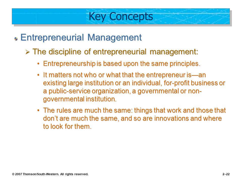 Key Concepts Entrepreneurial Management