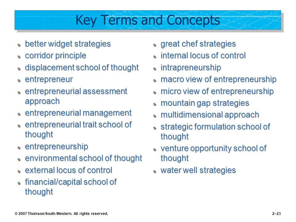 Key Terms and Concepts better widget strategies corridor principle