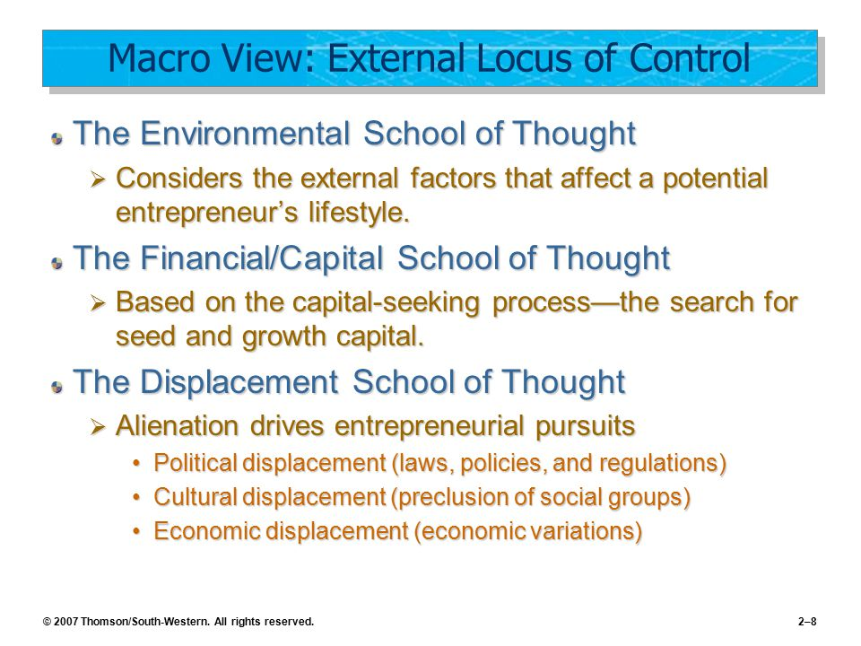 Macro View: External Locus of Control