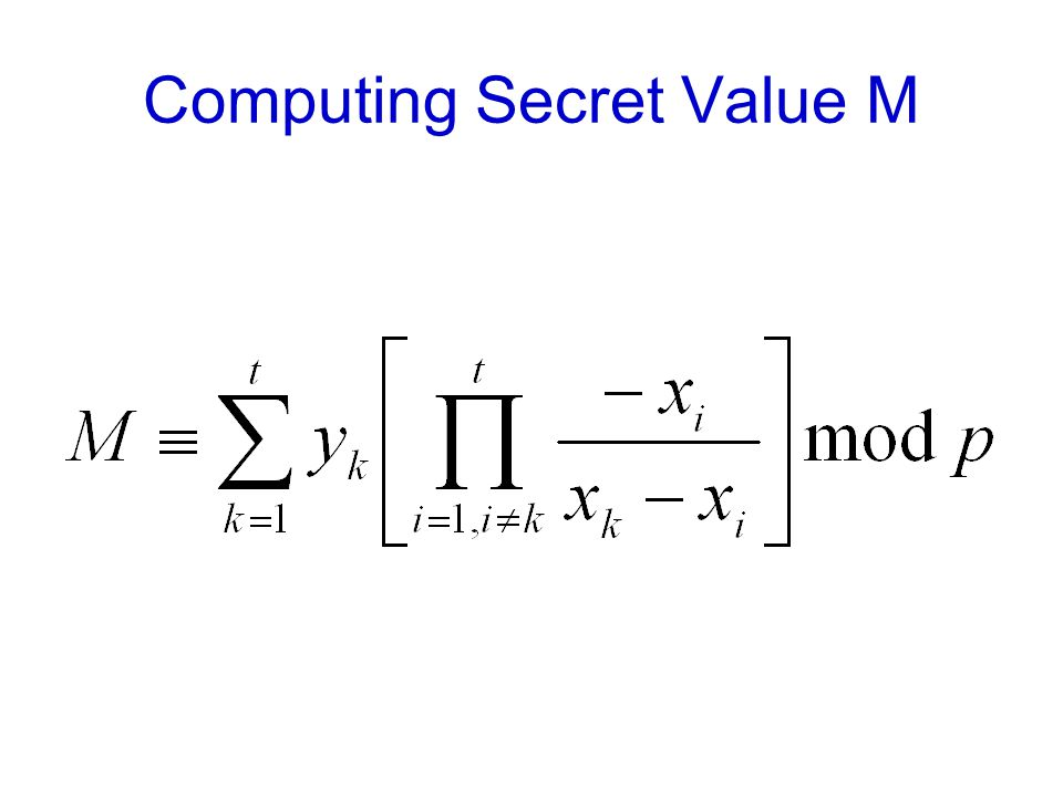 Computing Secret Value M