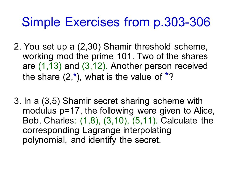 Simple Exercises from p.303-306