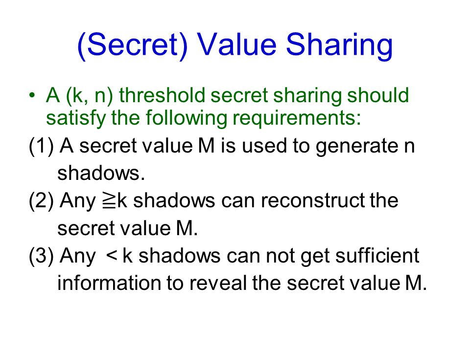 (Secret) Value Sharing