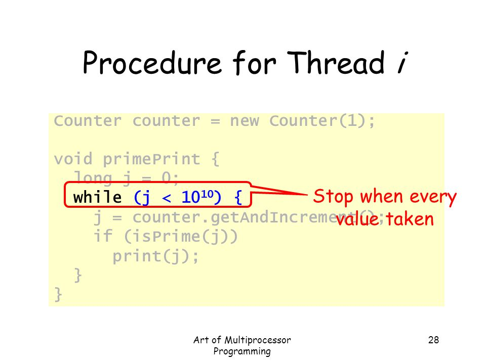 Procedure for Thread i Stop when every value taken