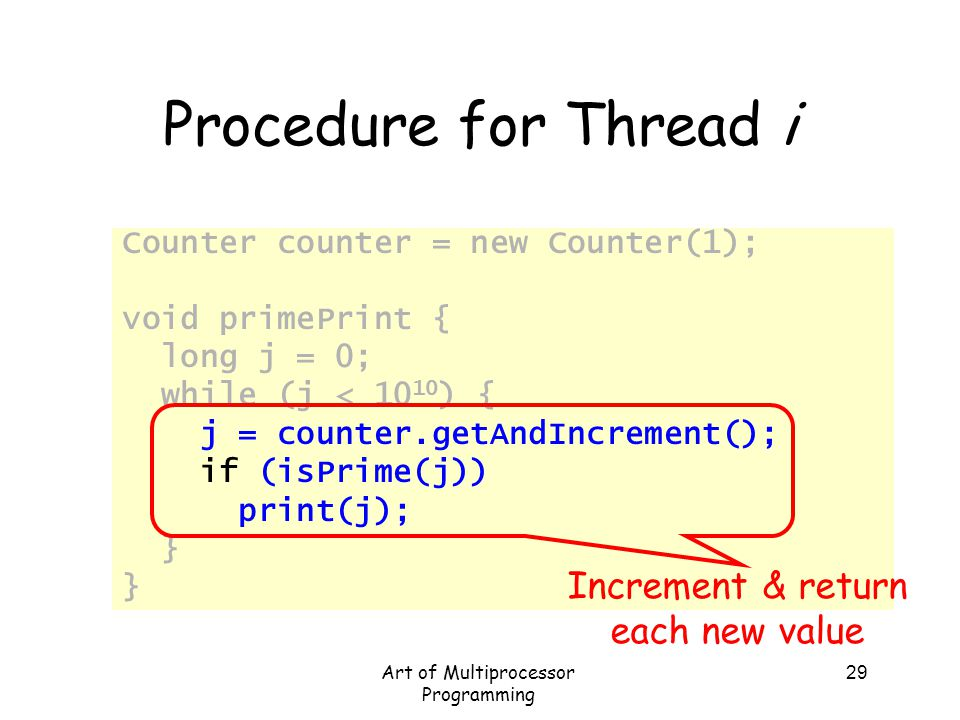 Procedure for Thread i Increment & return each new value