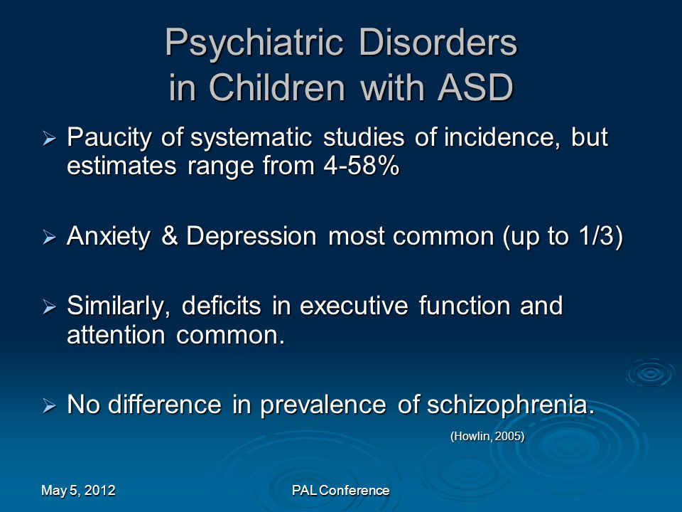 Psychiatric Disorders in Children with ASD
