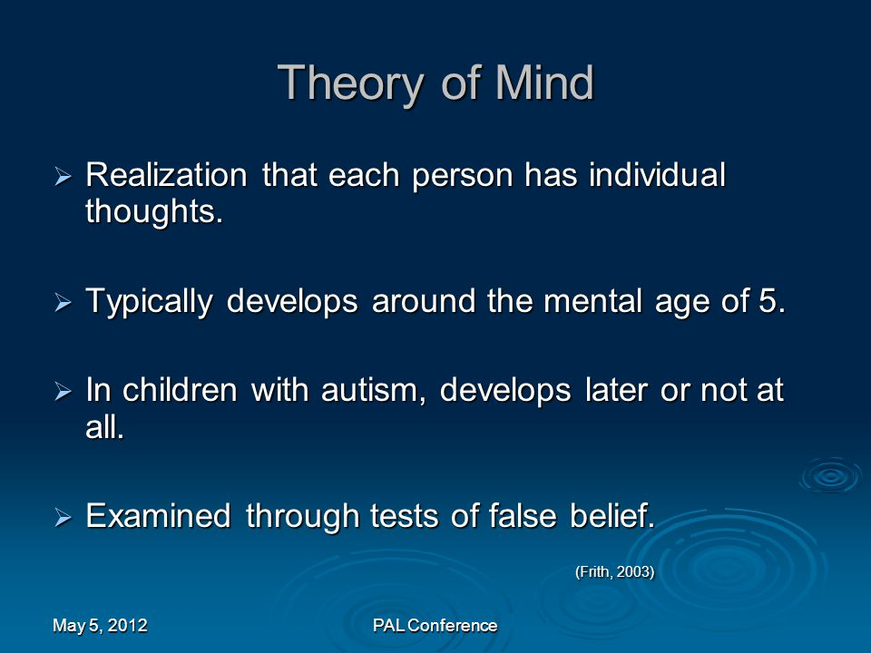 Theory of Mind Realization that each person has individual thoughts. Typically develops around the mental age of 5.