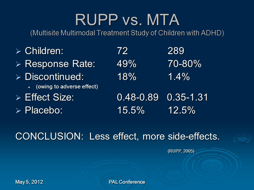 RUPP vs. MTA (Multisite Multimodal Treatment Study of Children with ADHD)