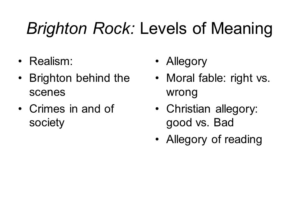 Brighton Rock: Levels of Meaning
