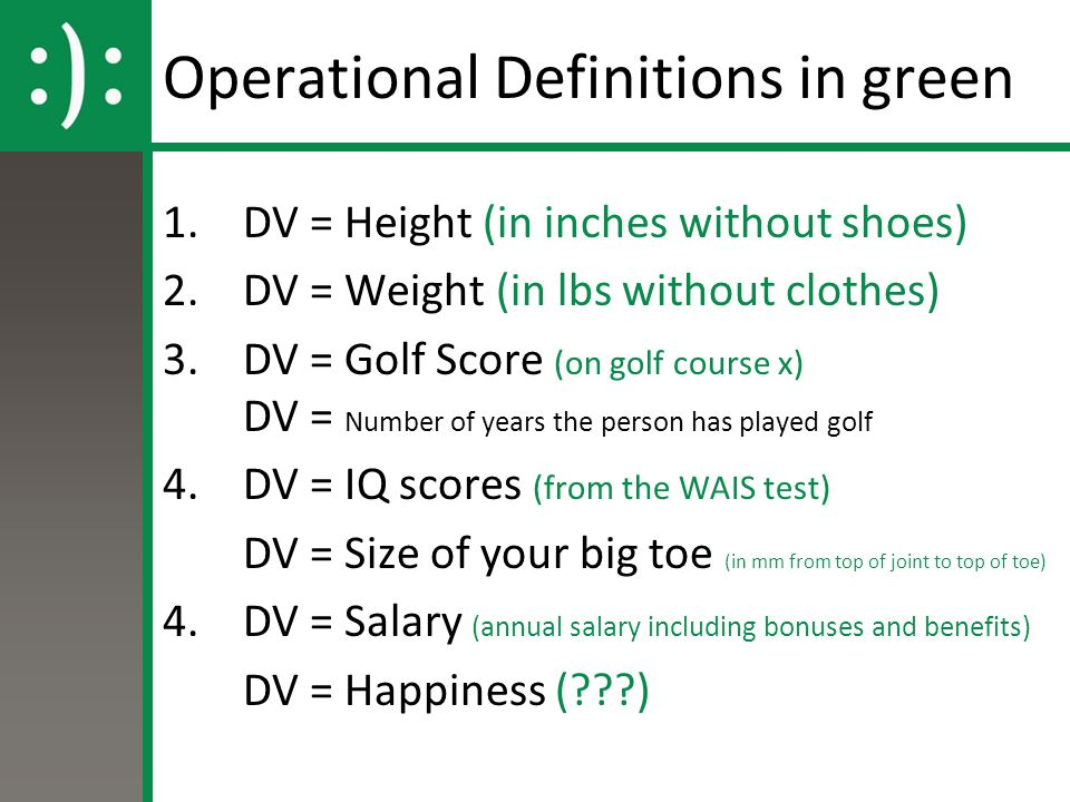 Operational Definitions in green