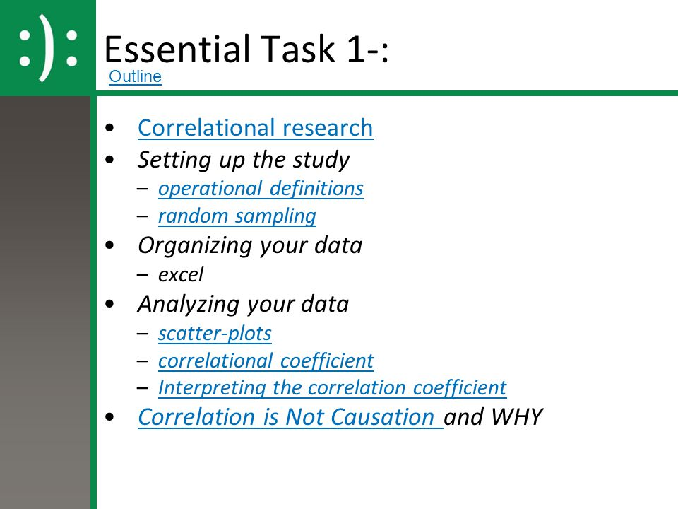 Essential Task 1-: Correlational research Setting up the study