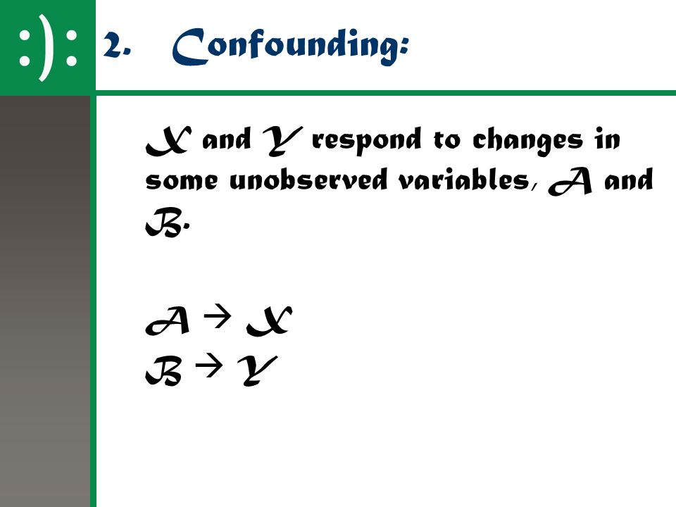 2. Confounding: X and Y respond to changes in some unobserved variables, A and B. A  X B  Y 32