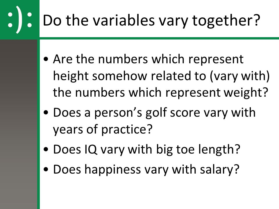 Do the variables vary together