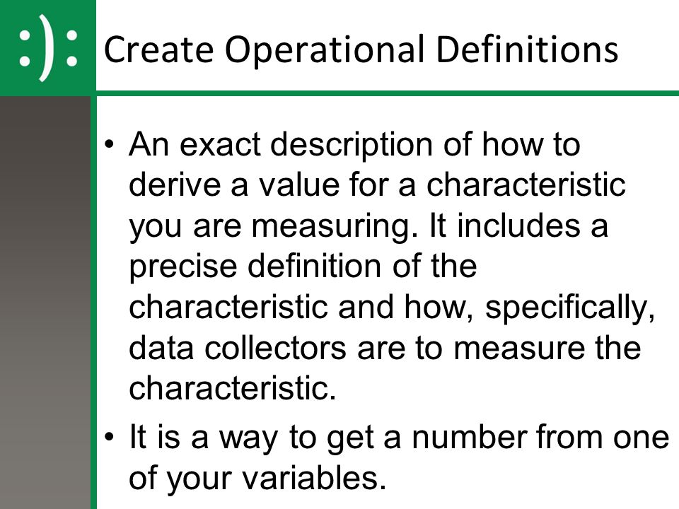 Create Operational Definitions