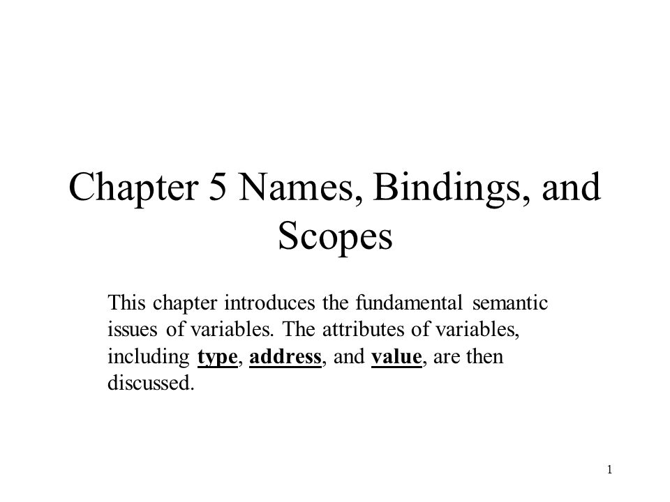 Chapter 5 Names, Bindings, and Scopes