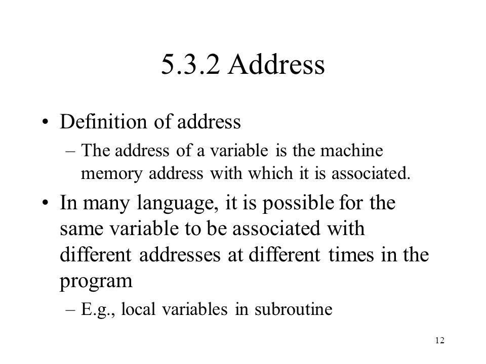 5.3.2 Address Definition of address