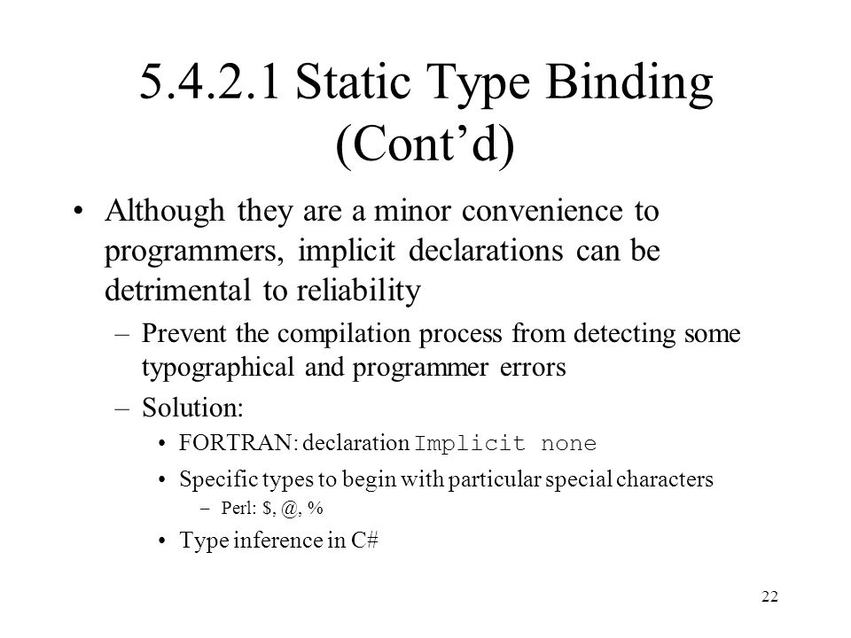 5.4.2.1 Static Type Binding (Cont'd)