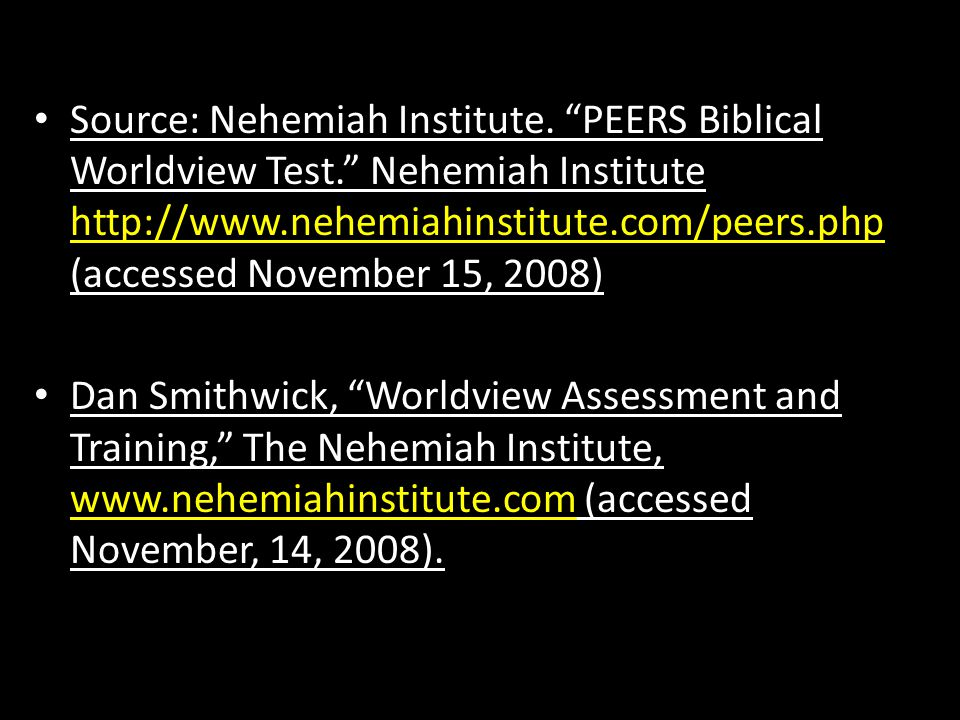 Source: Nehemiah Institute. PEERS Biblical Worldview Test