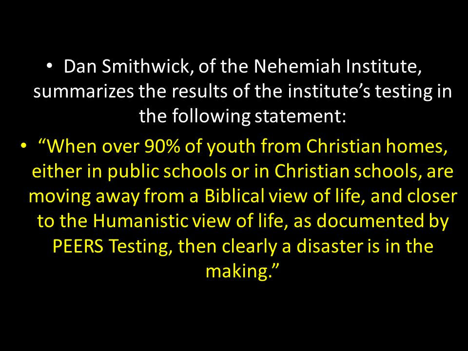 Dan Smithwick, of the Nehemiah Institute, summarizes the results of the institute's testing in the following statement: