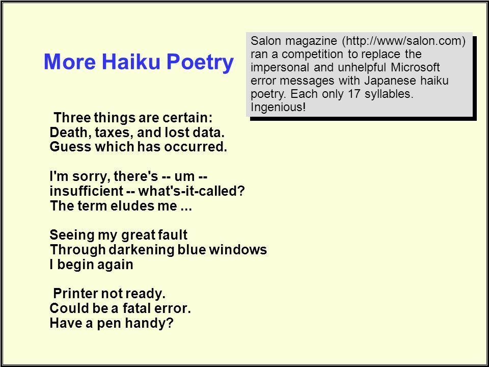 More Haiku Poetry