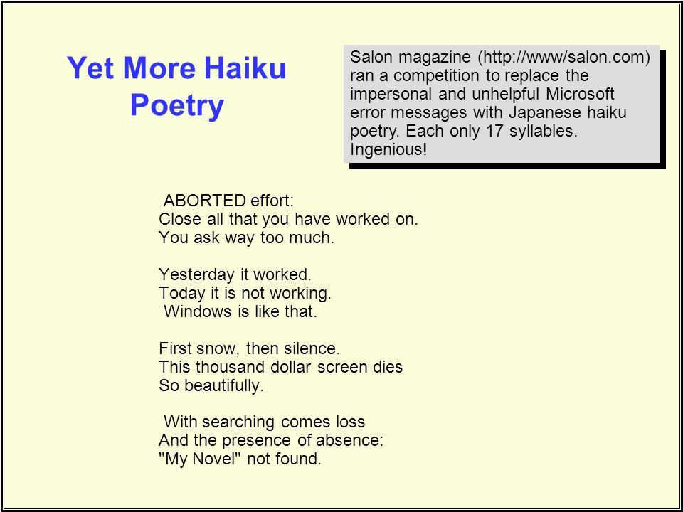 Yet More Haiku Poetry