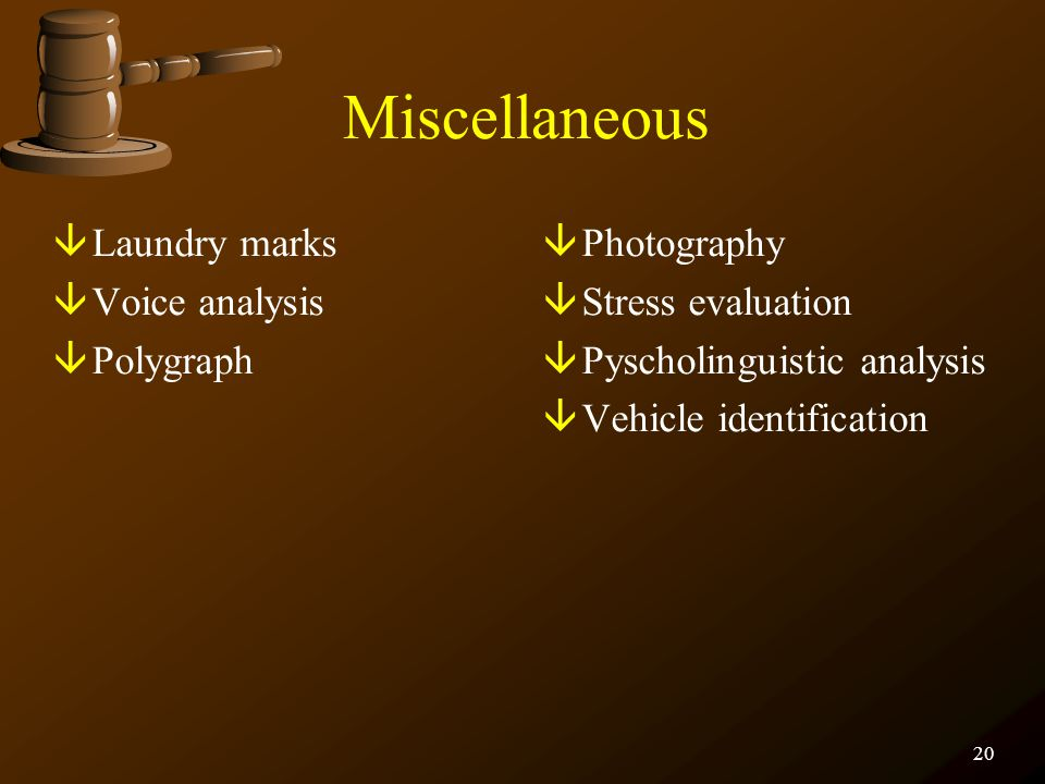Miscellaneous Laundry marks Voice analysis Polygraph Photography