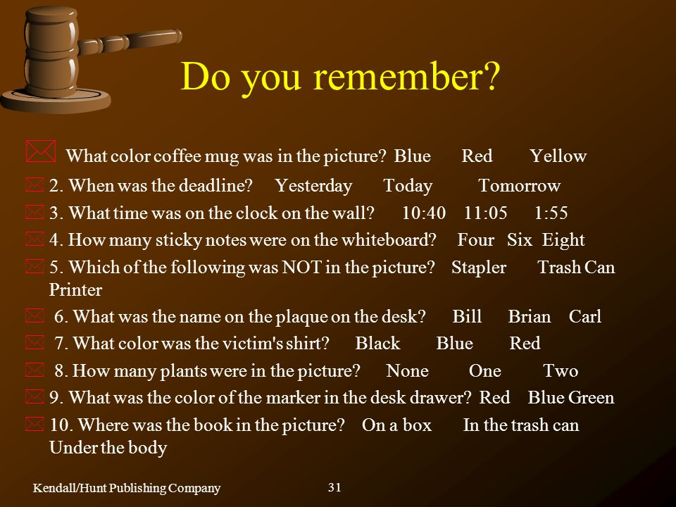 Do you remember What color coffee mug was in the picture Blue Red Yellow.