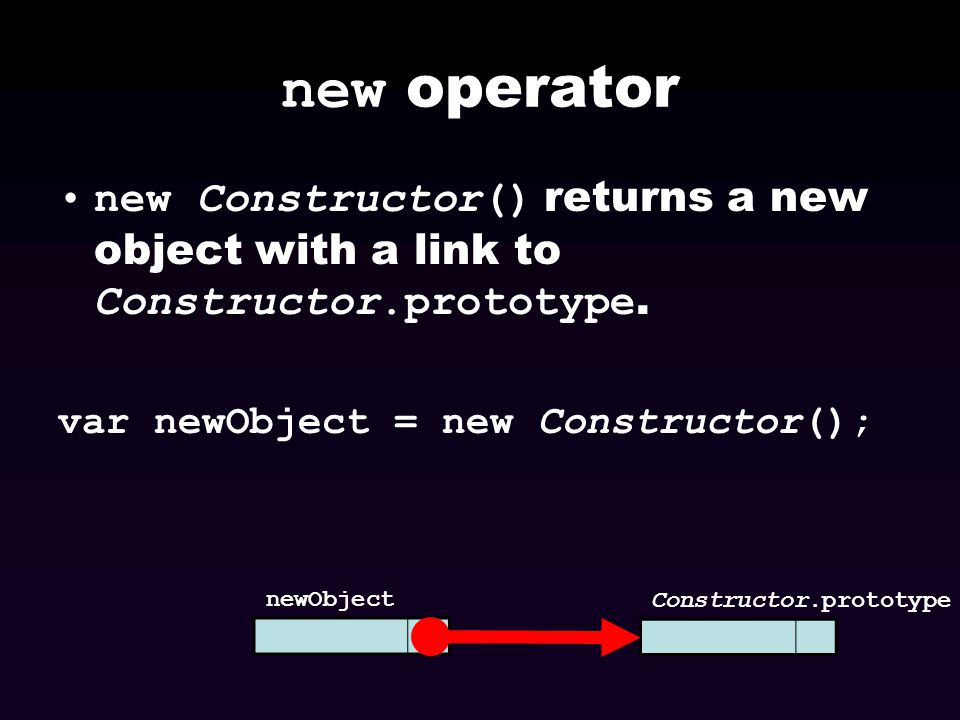 new operator new Constructor() returns a new object with a link to Constructor.prototype. var newObject = new Constructor();