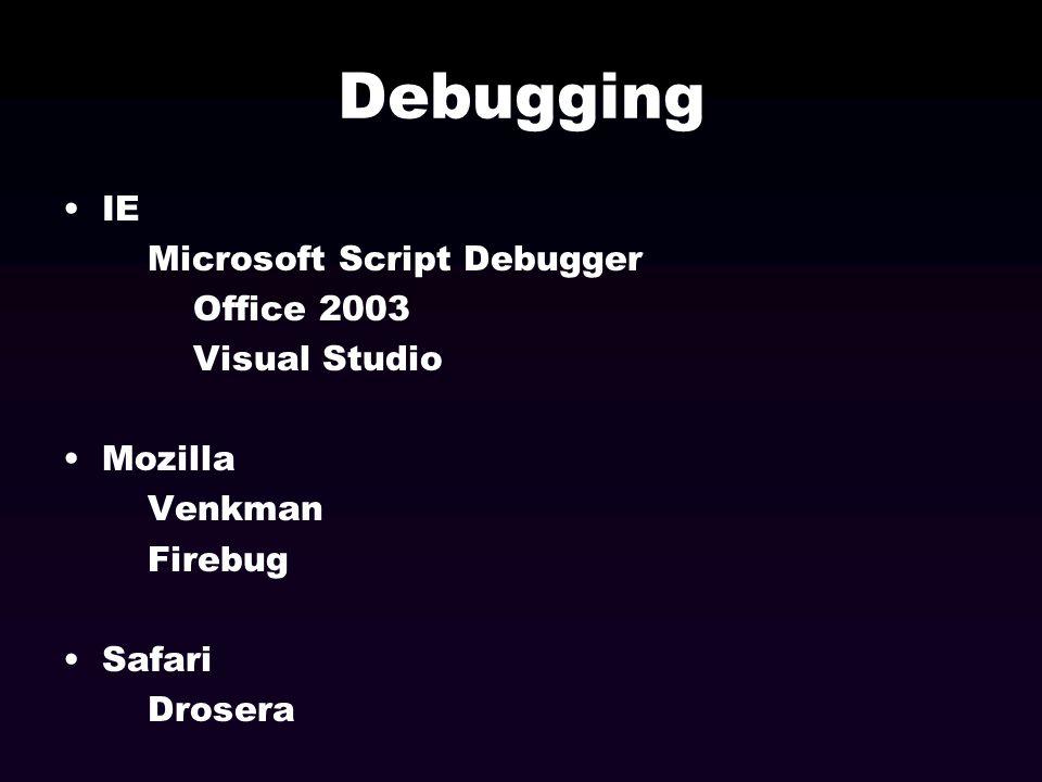 Debugging IE Microsoft Script Debugger Office 2003 Visual Studio