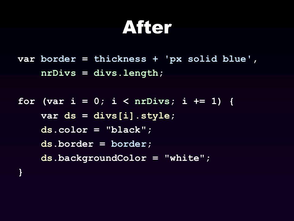 After var border = thickness + px solid blue , nrDivs = divs.length;