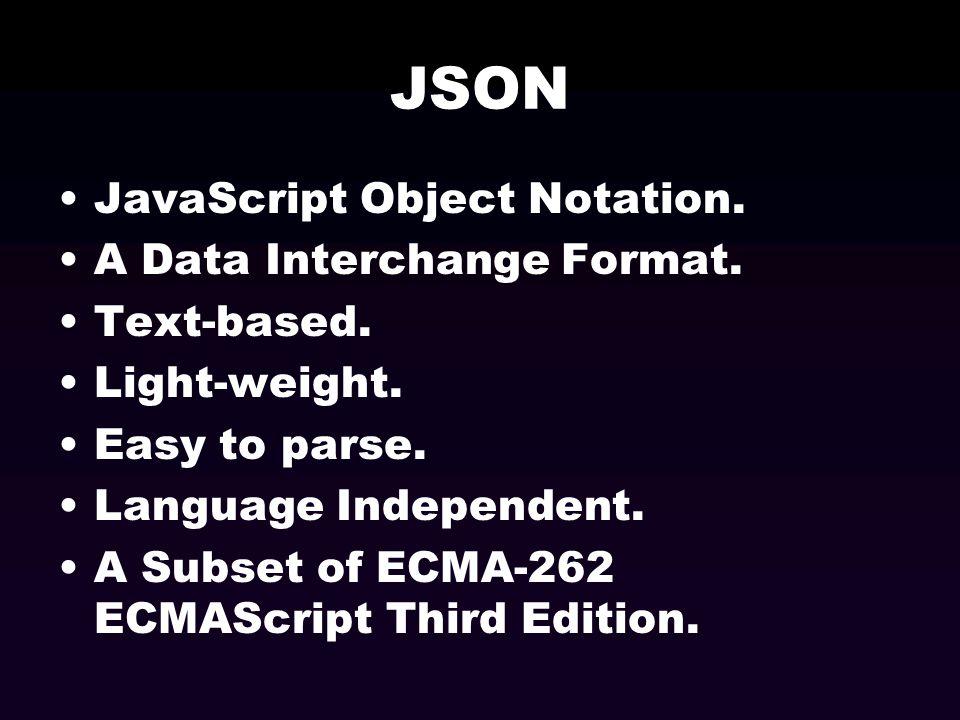 JSON JavaScript Object Notation. A Data Interchange Format.