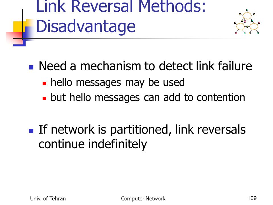 Link Reversal Methods: Disadvantage