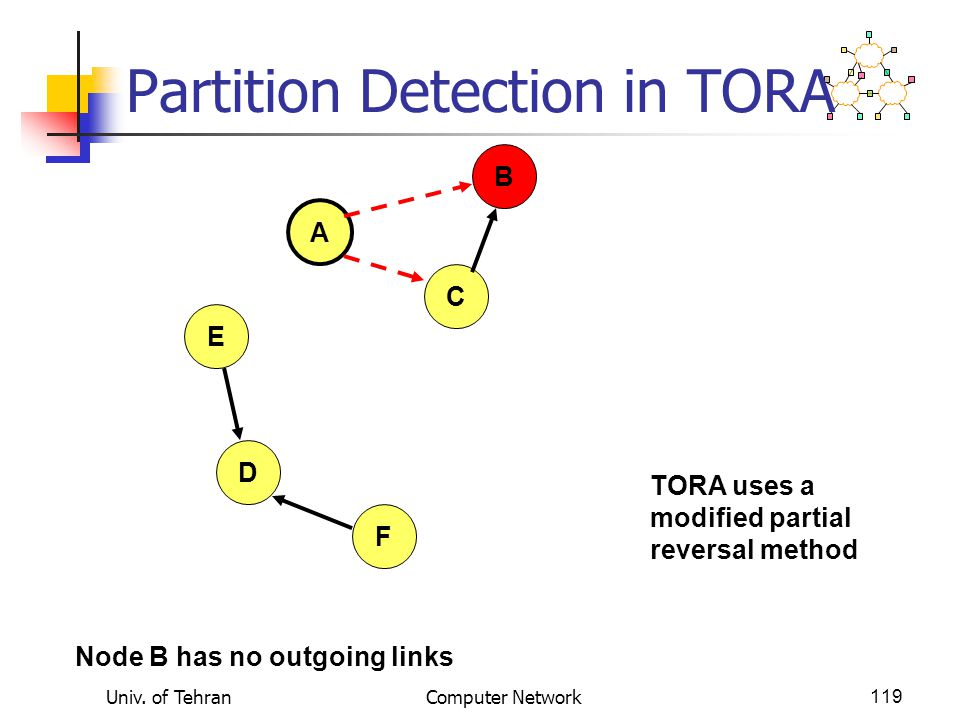 Partition Detection in TORA
