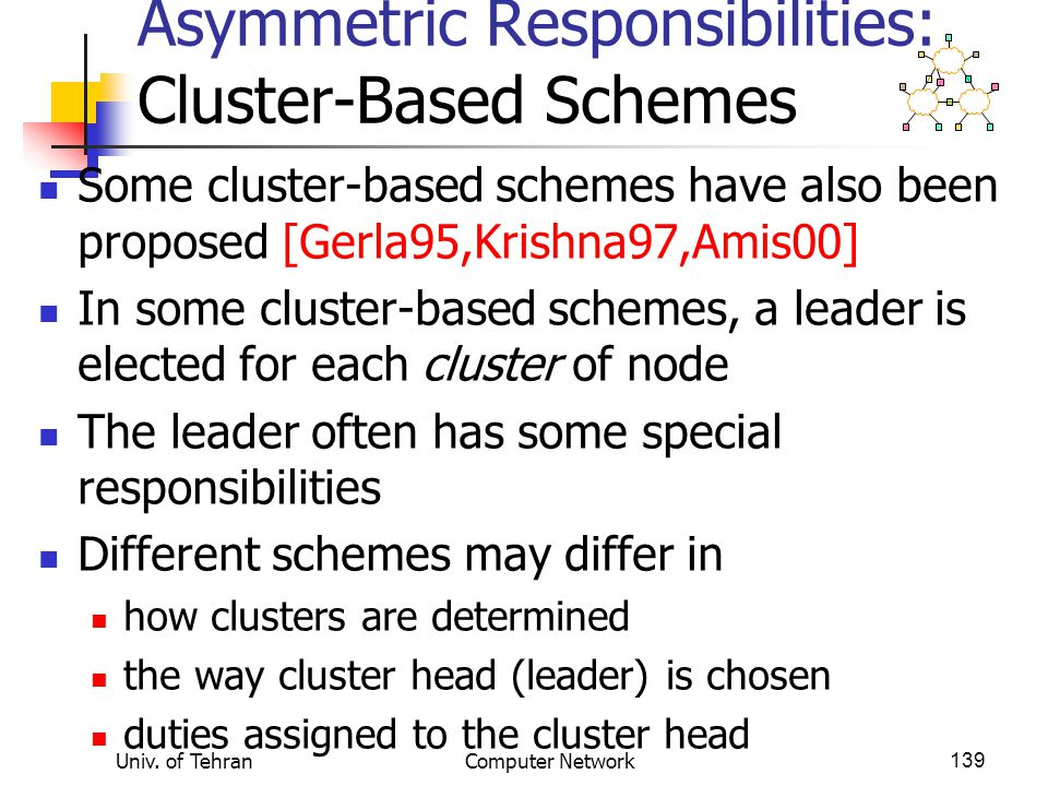 Asymmetric Responsibilities: Cluster-Based Schemes