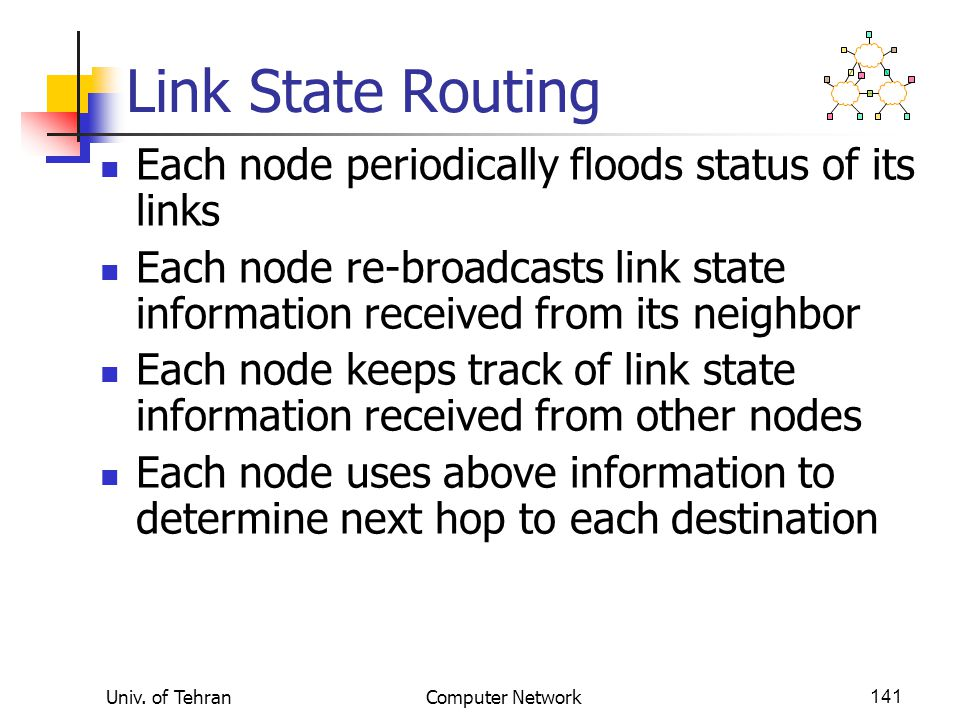 Link State Routing Each node periodically floods status of its links
