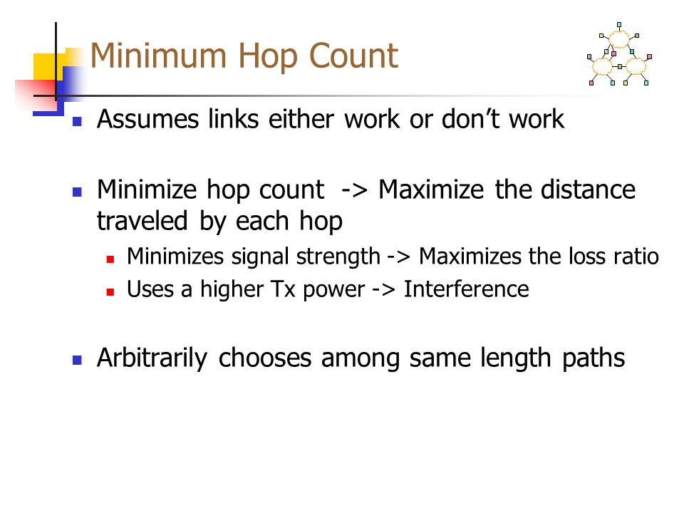 Minimum Hop Count Assumes links either work or don't work