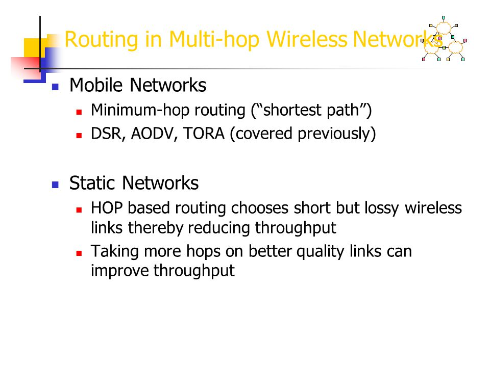 Routing in Multi-hop Wireless Networks