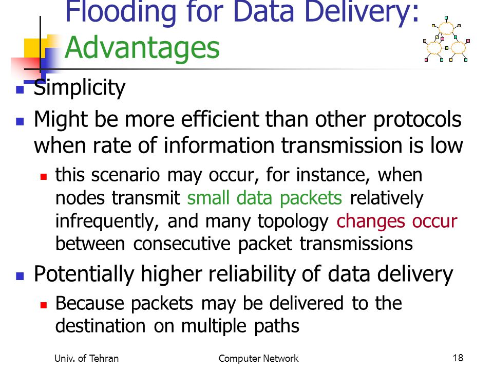 Flooding for Data Delivery: Advantages