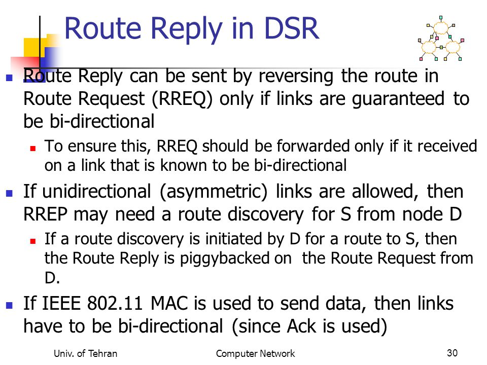 Route Reply in DSR Route Reply can be sent by reversing the route in Route Request (RREQ) only if links are guaranteed to be bi-directional.