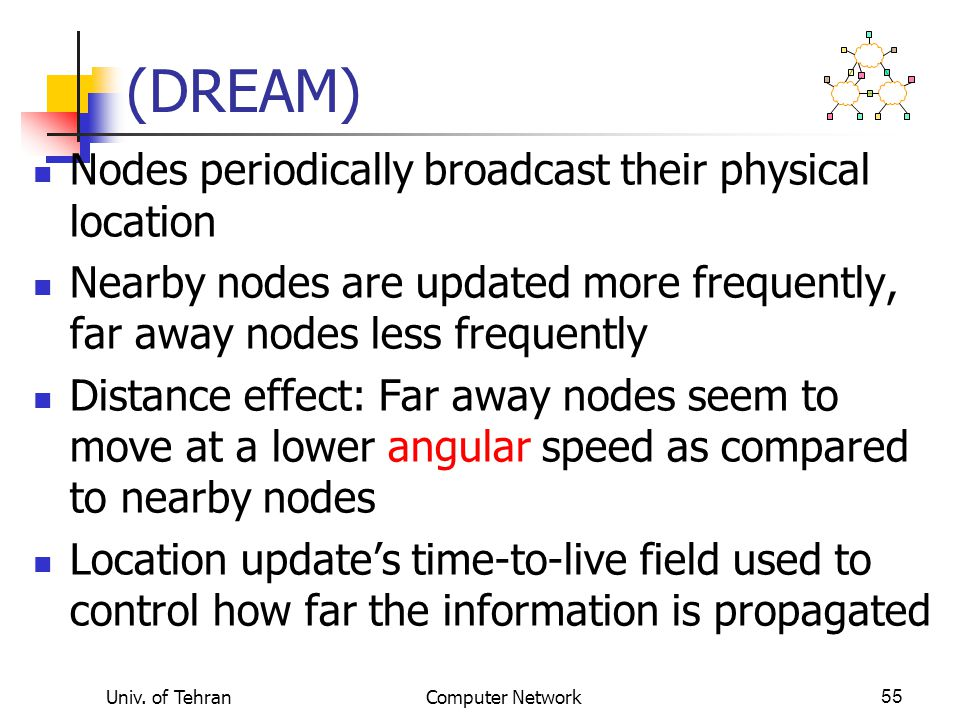 (DREAM) Nodes periodically broadcast their physical location