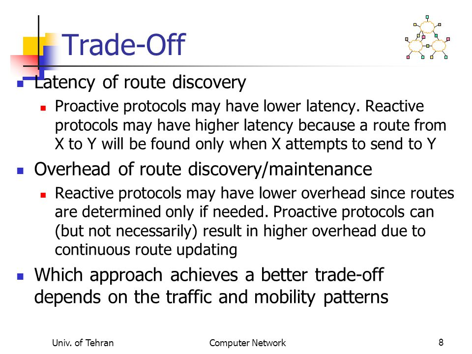 Trade-Off Latency of route discovery