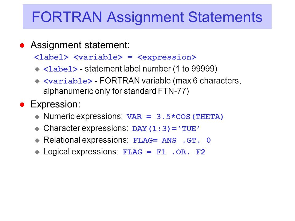 FORTRAN Assignment Statements